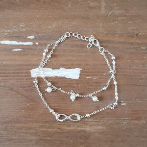 LAST ONE--Silver Infinity & Pearl Anklet